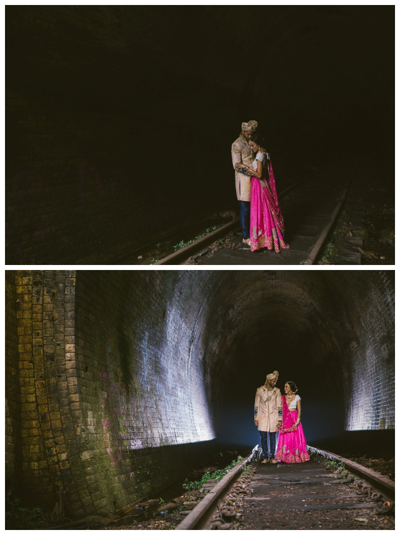back flash, location shoot, bride and groom, love, just married, hindu, sari, train tunnel, shire, wedding photographer