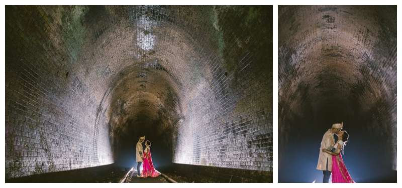 wedding photogapher, location shoot, nature, tunnel, bride and groom, love, backflash, just married