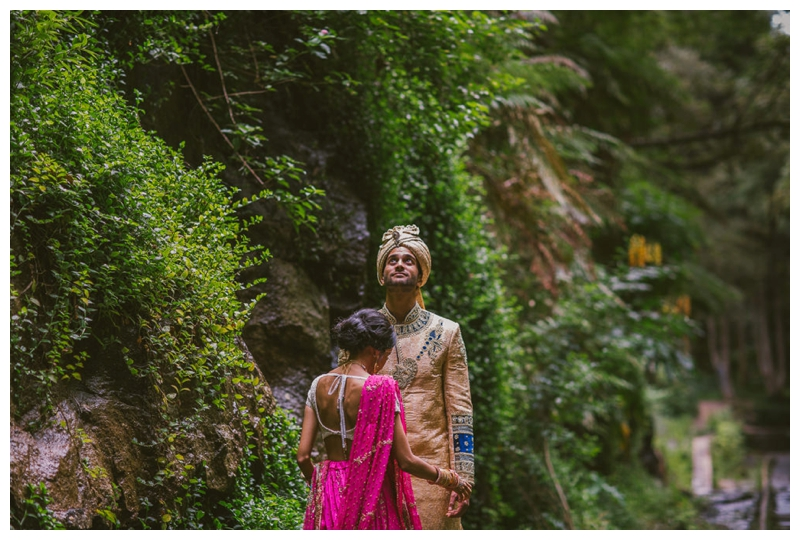 bride and groom, just married, rainforest, bush, nature, light, hindu, trees, god, wedding photography