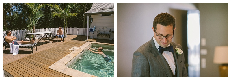 groom, wedding, brendan, jaspers berry, summer wedding, swimming pool, groom preparations