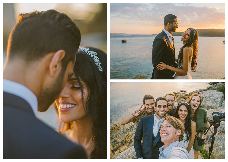 gather and stitch, manly pavillion, sunset photography, wedding photography, seaside summer wedding, southern highlands wedding photographer, sunset selfie, wolfmoon, videography, holly, lupo, antonio, selfie