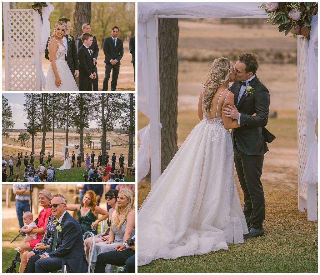 ceremony wedding bushfield farm, kiss
