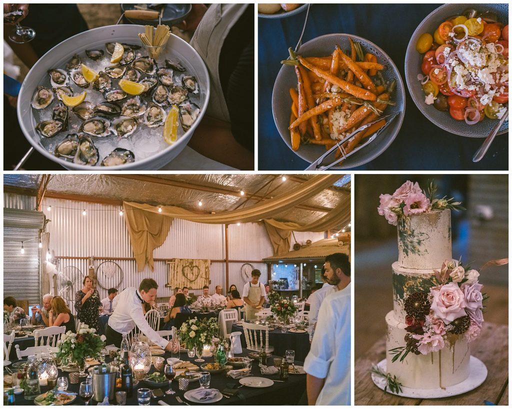 bushfield farm wedding, gundaroo wedding photographer, country wedding photographer, outback wedding, bush wedding, oysters reception food, catering tessa's