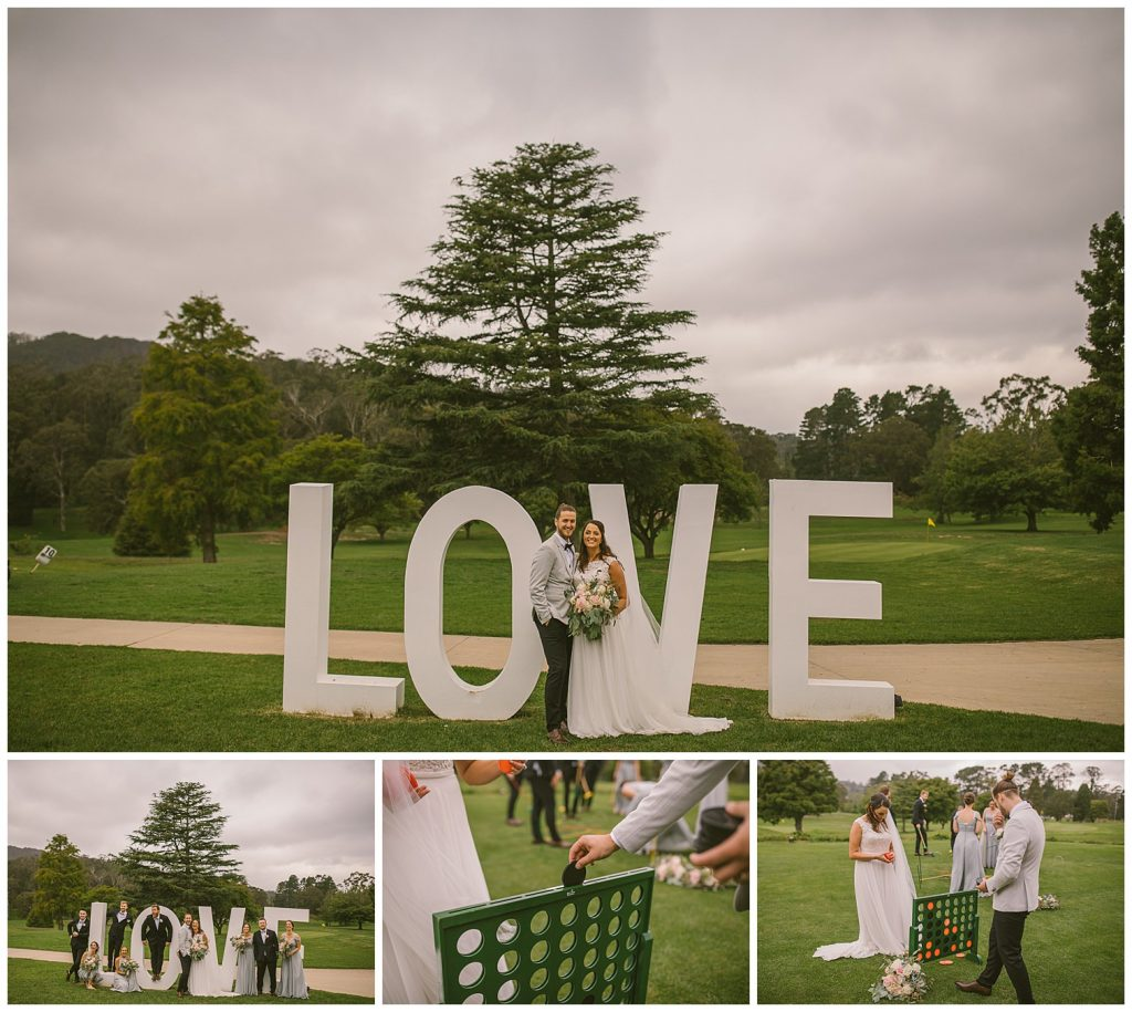 just do it wedding, connect four wedding photographer, lawn games, gibraltar hotel